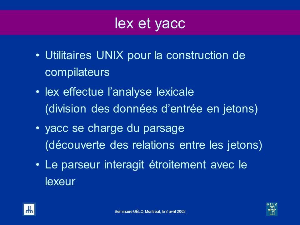 lex et yacc Utilitaires UNIX pour la construction de compilateurs