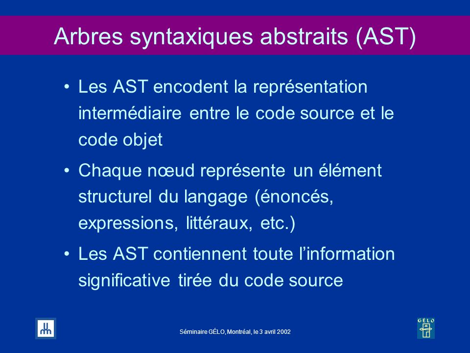 Arbres syntaxiques abstraits (AST)