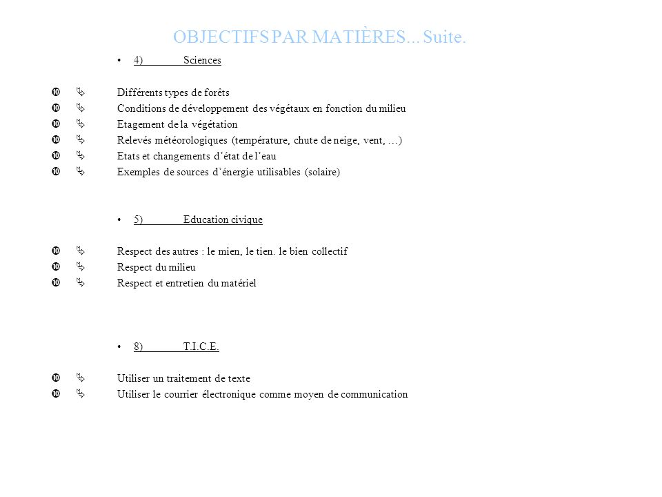 OBJECTIFS PAR MATIÈRES... Suite.
