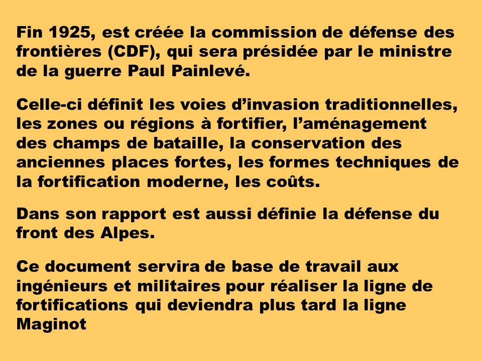 Fin 1925, est créée la commission de défense des frontières (CDF), qui sera présidée par le ministre de la guerre Paul Painlevé.