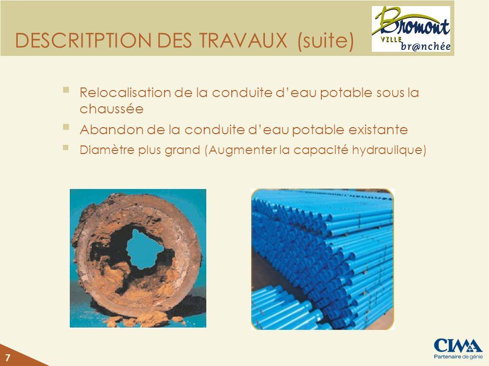 DESCRITPTION DES TRAVAUX (suite)