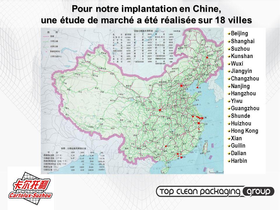 Pour notre implantation en Chine, une étude de marché a été réalisée sur 18 villes