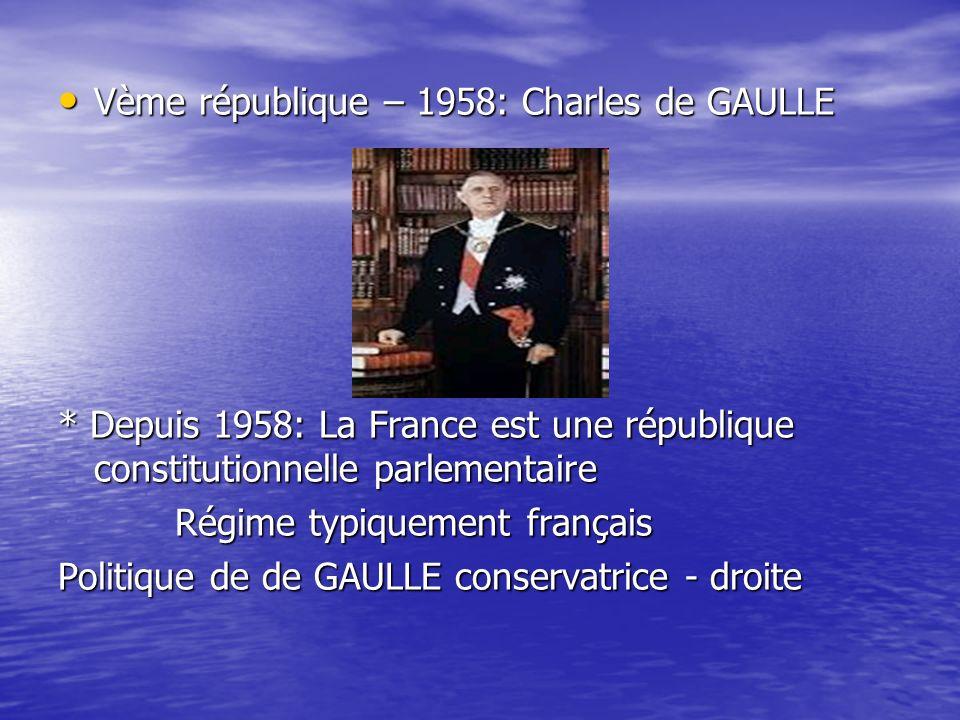 Vème république – 1958: Charles de GAULLE