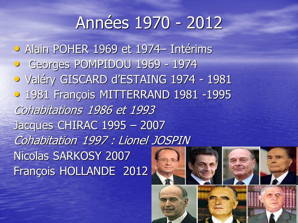 Années 1970 - 2012 Alain POHER 1969 et 1974– Intérims