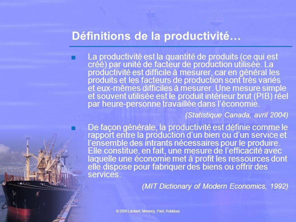 Définitions de la productivité…