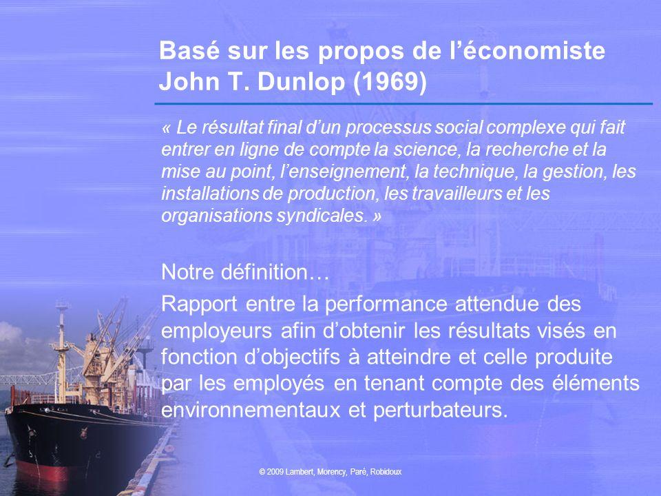 Basé sur les propos de l'économiste John T. Dunlop (1969)
