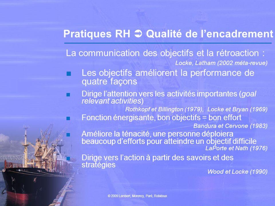 Pratiques RH  Qualité de l'encadrement