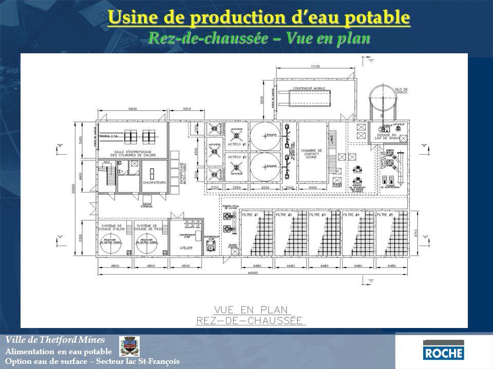 Usine de production d'eau potable Rez-de-chaussée – Vue en plan