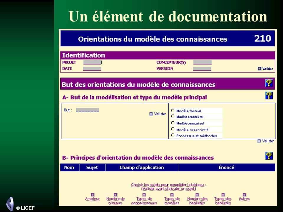 Un élément de documentation