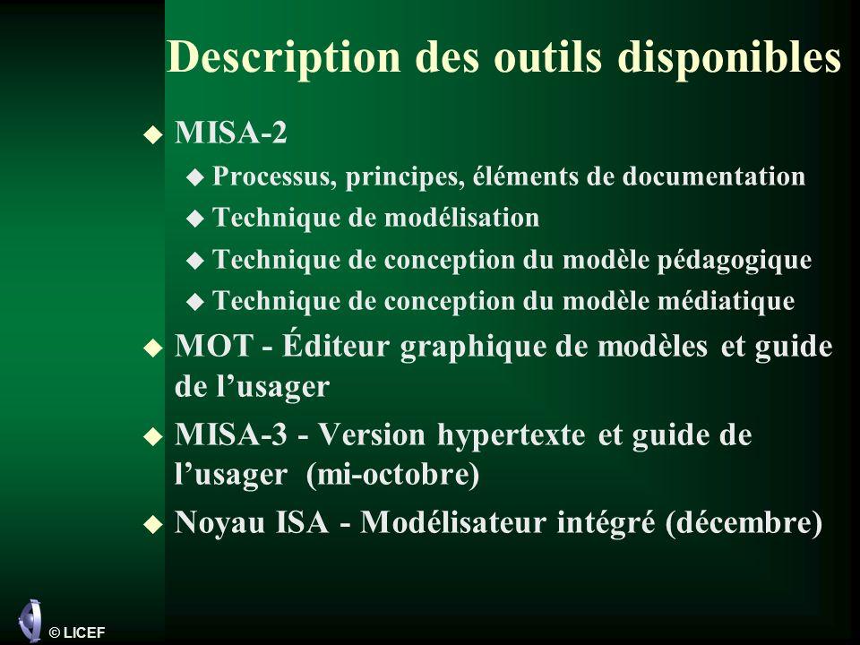 Description des outils disponibles