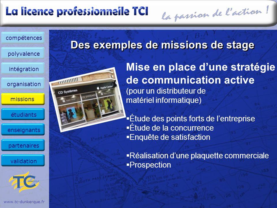 Des exemples de missions de stage