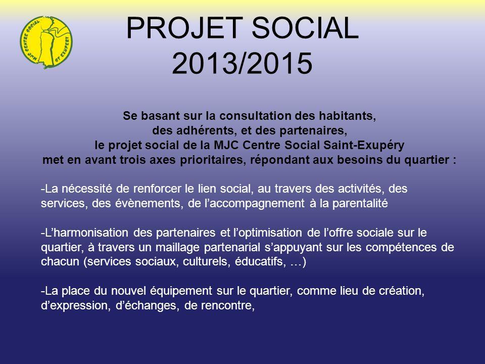 PROJET SOCIAL 2013/2015 Se basant sur la consultation des habitants,