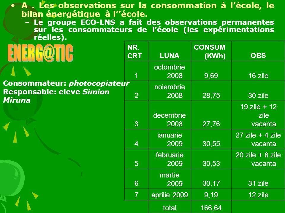 A . Les observations sur la consommation à l'école, le bilan énergétique à l''école.