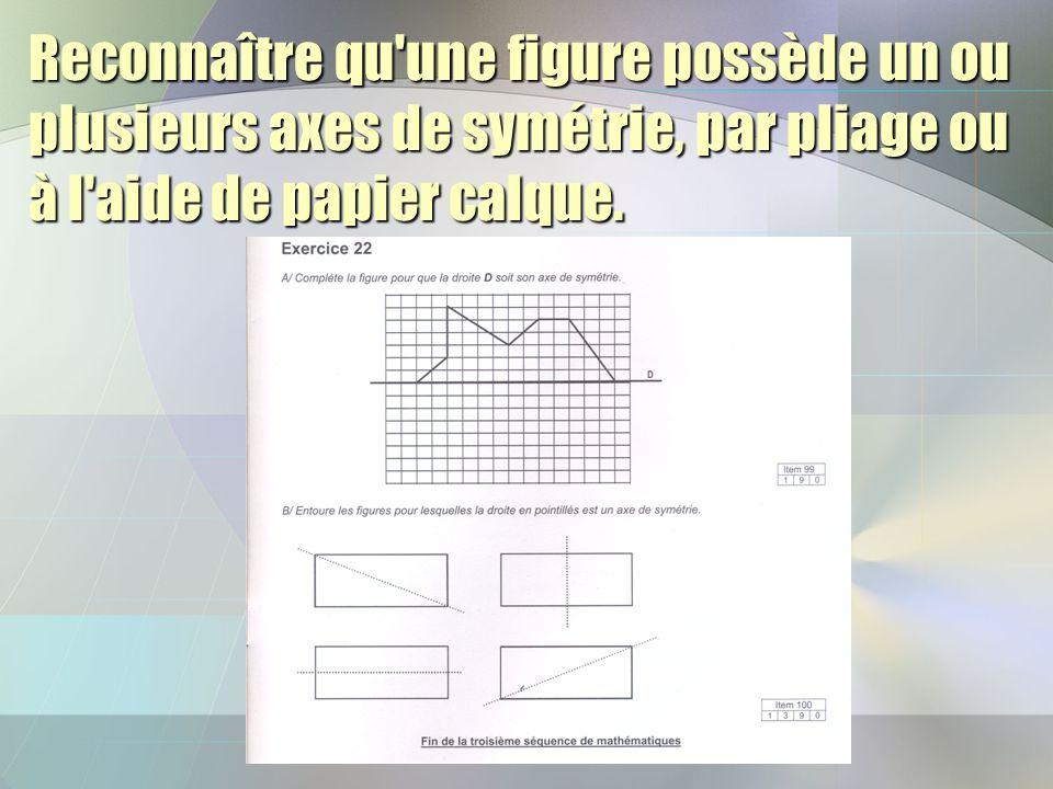 Reconnaître qu une figure possède un ou plusieurs axes de symétrie, par pliage ou à l aide de papier calque.