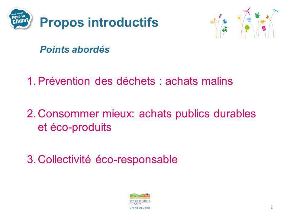 Propos introductifs Prévention des déchets : achats malins