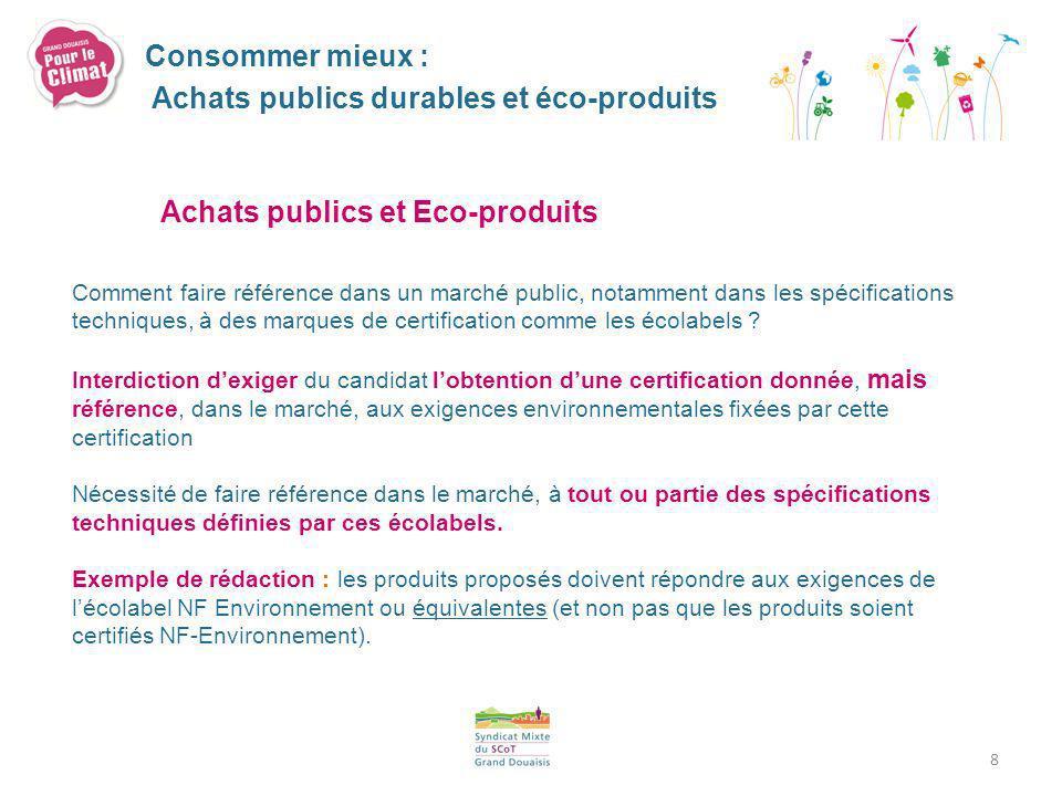 Achats publics durables et éco-produits