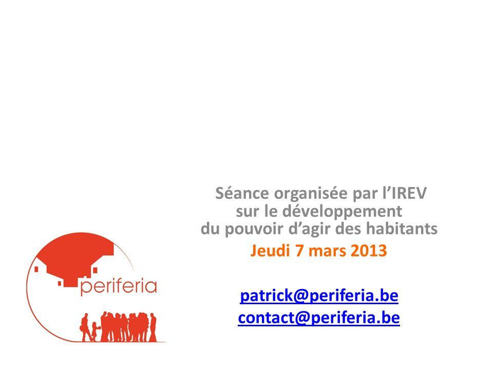Séance organisée par l'IREV sur le développement du pouvoir d'agir des habitants