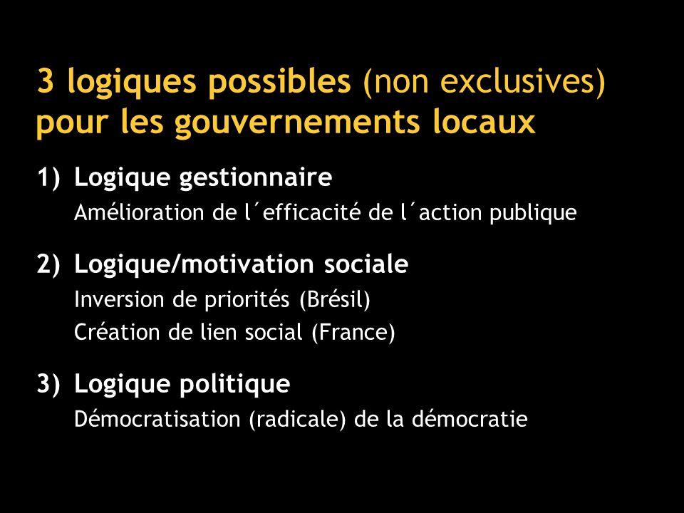 3 logiques possibles (non exclusives) pour les gouvernements locaux