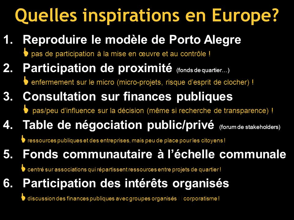 Quelles inspirations en Europe