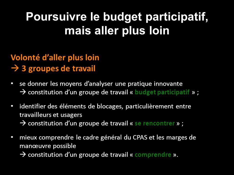 Poursuivre le budget participatif, mais aller plus loin