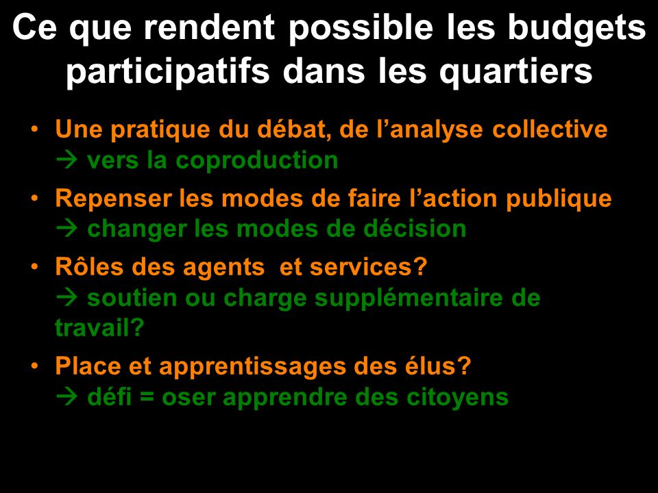 Ce que rendent possible les budgets participatifs dans les quartiers