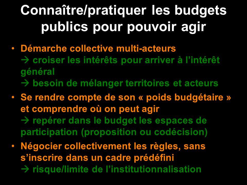 Connaître/pratiquer les budgets publics pour pouvoir agir