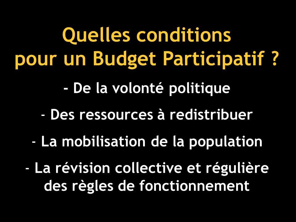 Quelles conditions pour un Budget Participatif