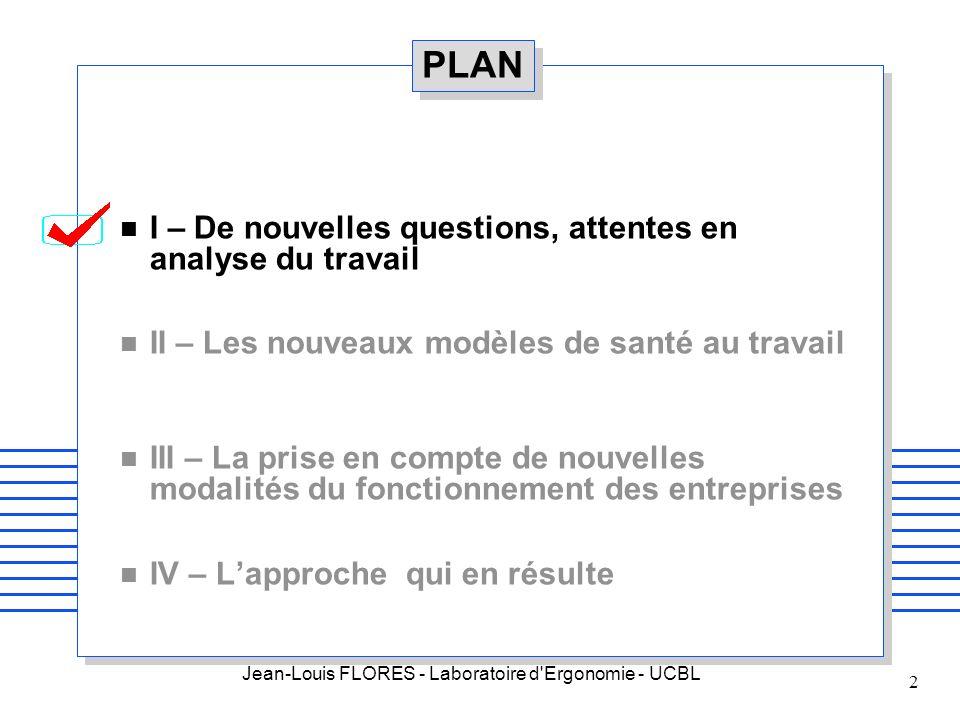 PLAN I – De nouvelles questions, attentes en analyse du travail