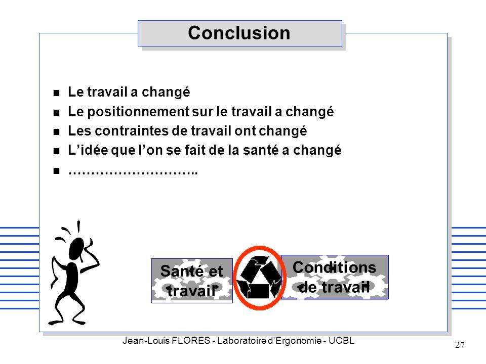 Conclusion Conditions de travail Santé et travail Le travail a changé