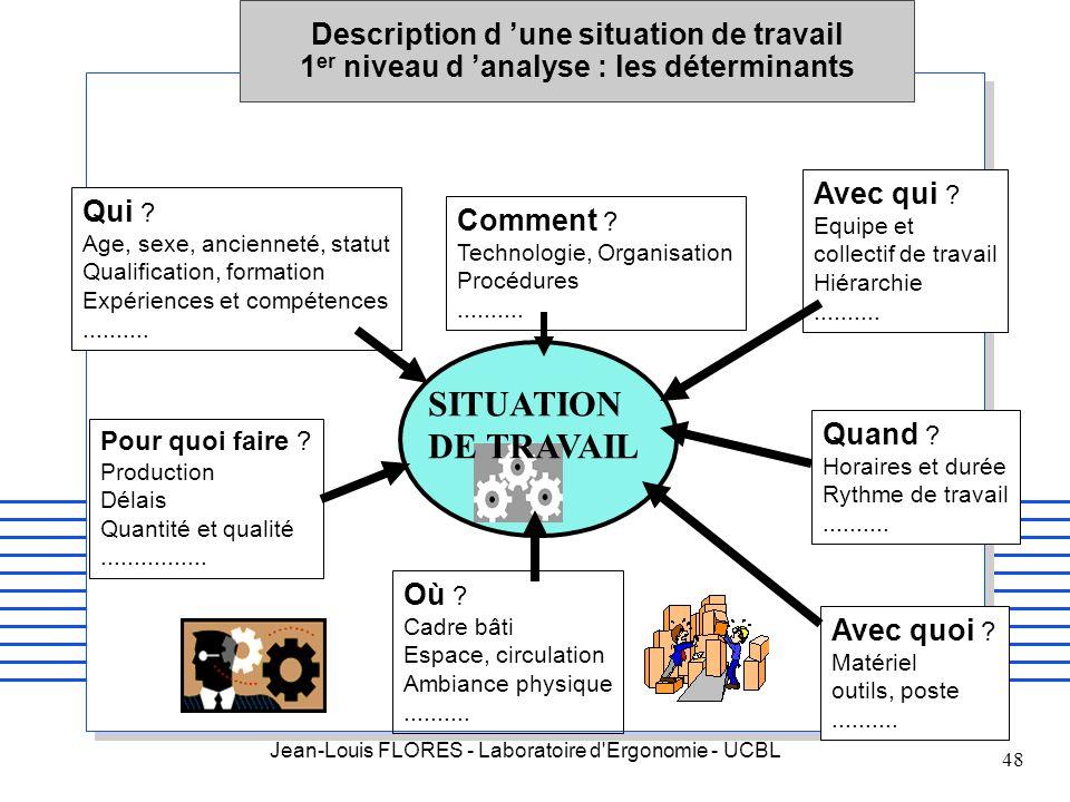 Description d 'une situation de travail 1er niveau d 'analyse : les déterminants