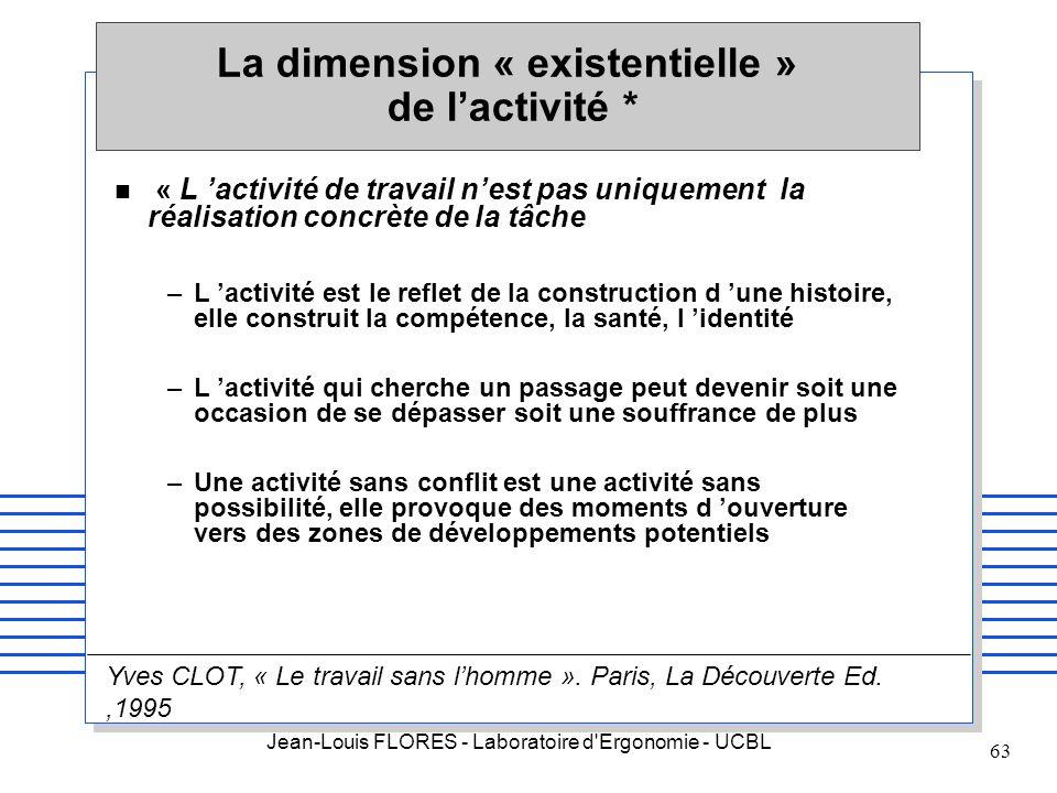 La dimension « existentielle » de l'activité *