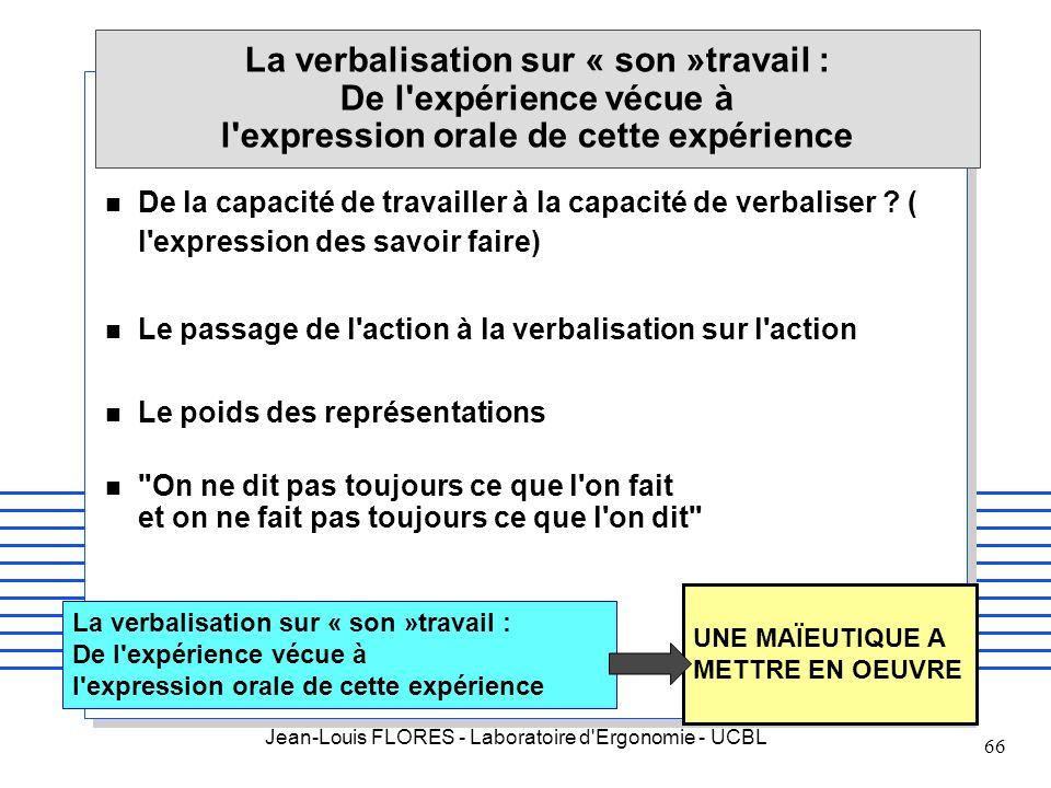La verbalisation sur « son »travail : De l expérience vécue à l expression orale de cette expérience