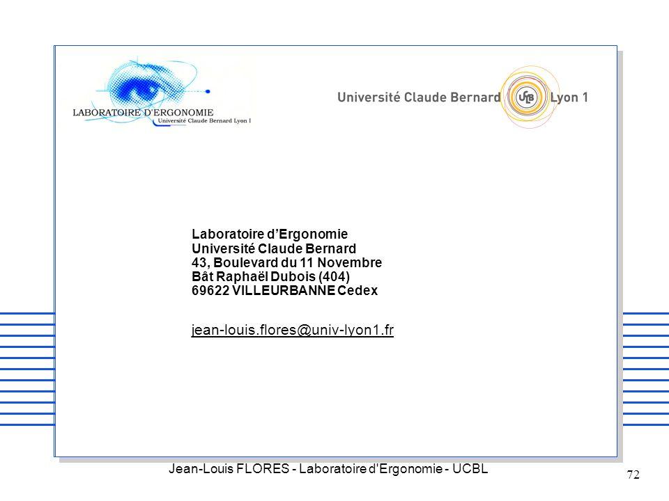 Laboratoire d'Ergonomie Université Claude Bernard 43, Boulevard du 11 Novembre Bât Raphaël Dubois (404) 69622 VILLEURBANNE Cedex