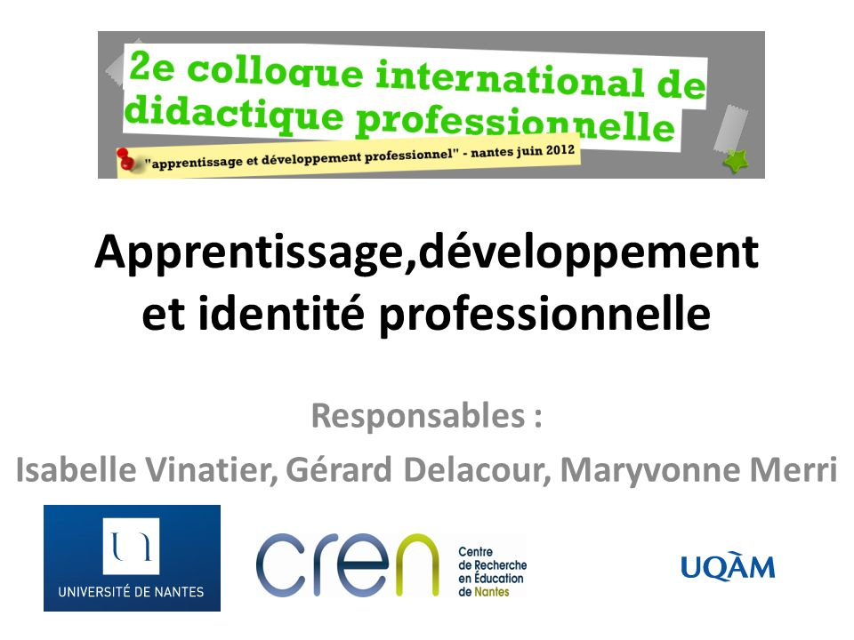 Apprentissage,développement et identité professionnelle