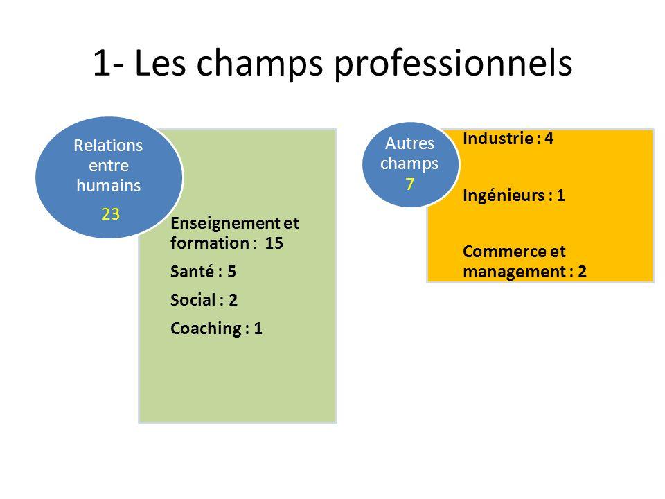 1- Les champs professionnels