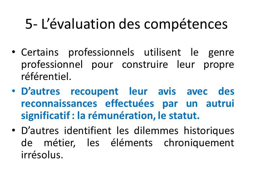5- L'évaluation des compétences