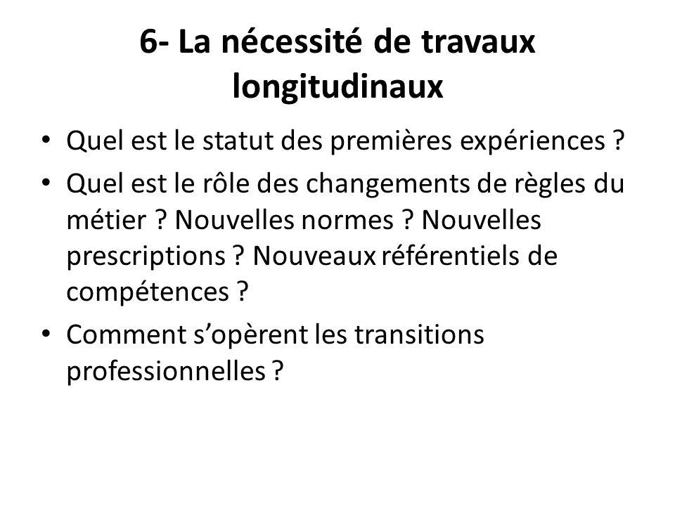 6- La nécessité de travaux longitudinaux