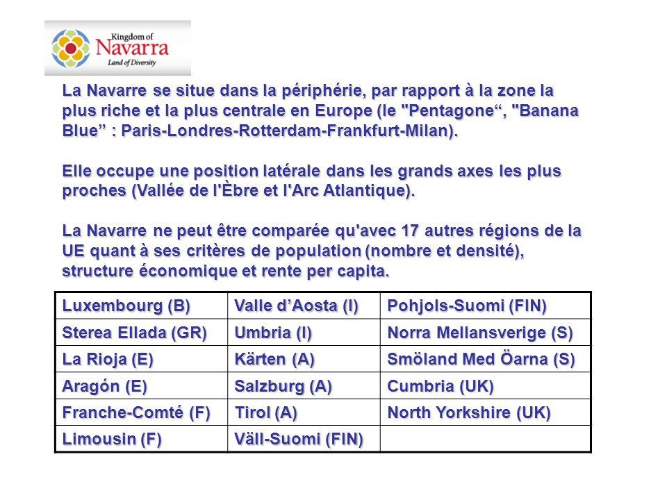La Navarre se situe dans la périphérie, par rapport à la zone la plus riche et la plus centrale en Europe (le Pentagone , Banana Blue : Paris-Londres-Rotterdam-Frankfurt-Milan).