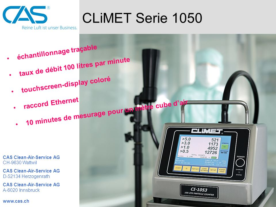 CLiMET Serie 1050 échantillonnage traçable
