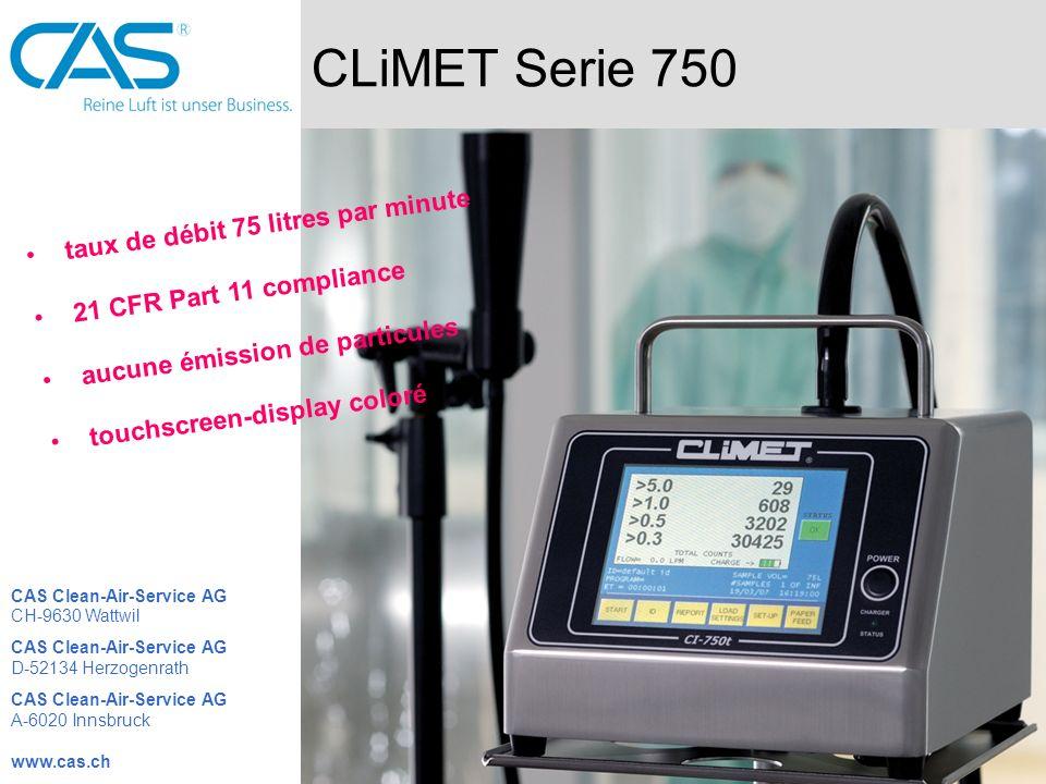 CLiMET Serie 750 taux de débit 75 litres par minute