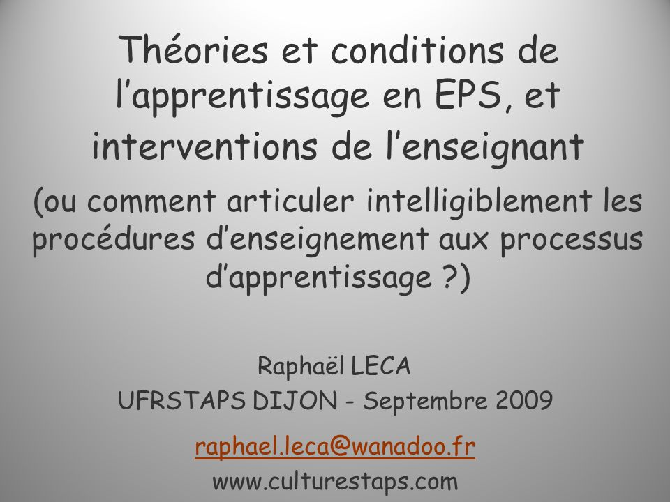 UFRSTAPS DIJON - Septembre 2009