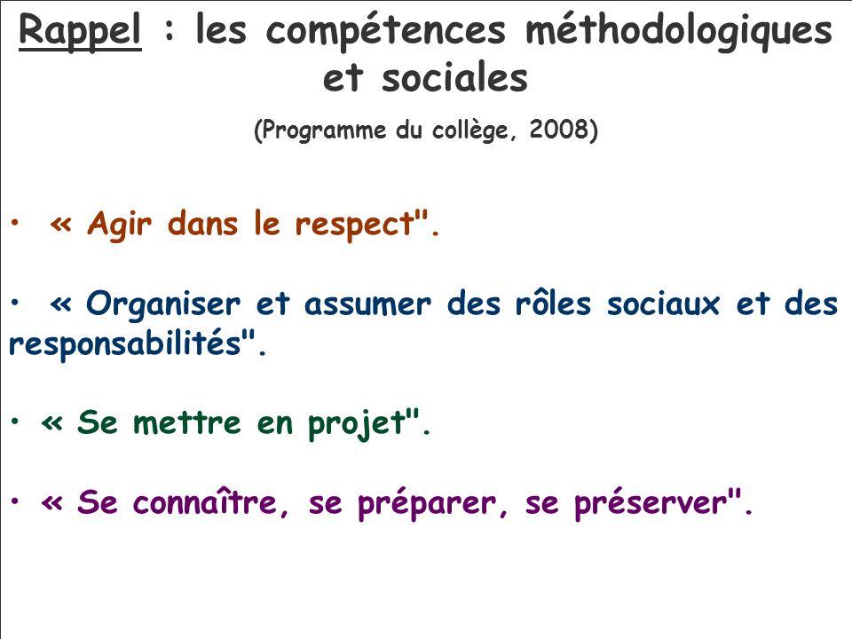 Rappel : les compétences méthodologiques et sociales