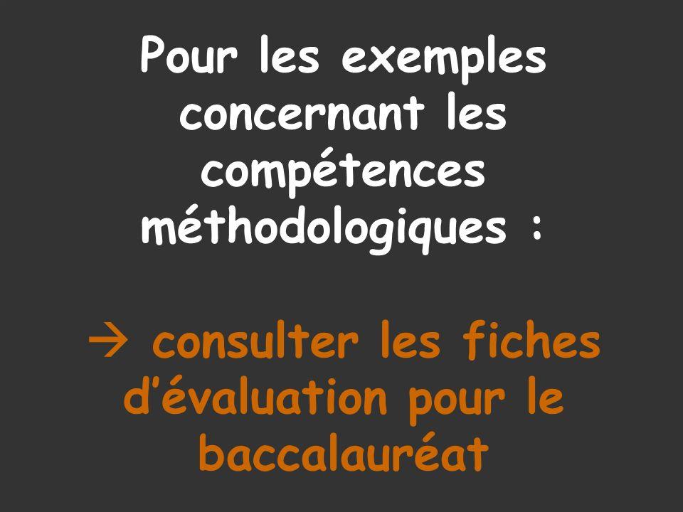 Pour les exemples concernant les compétences méthodologiques :  consulter les fiches d'évaluation pour le baccalauréat