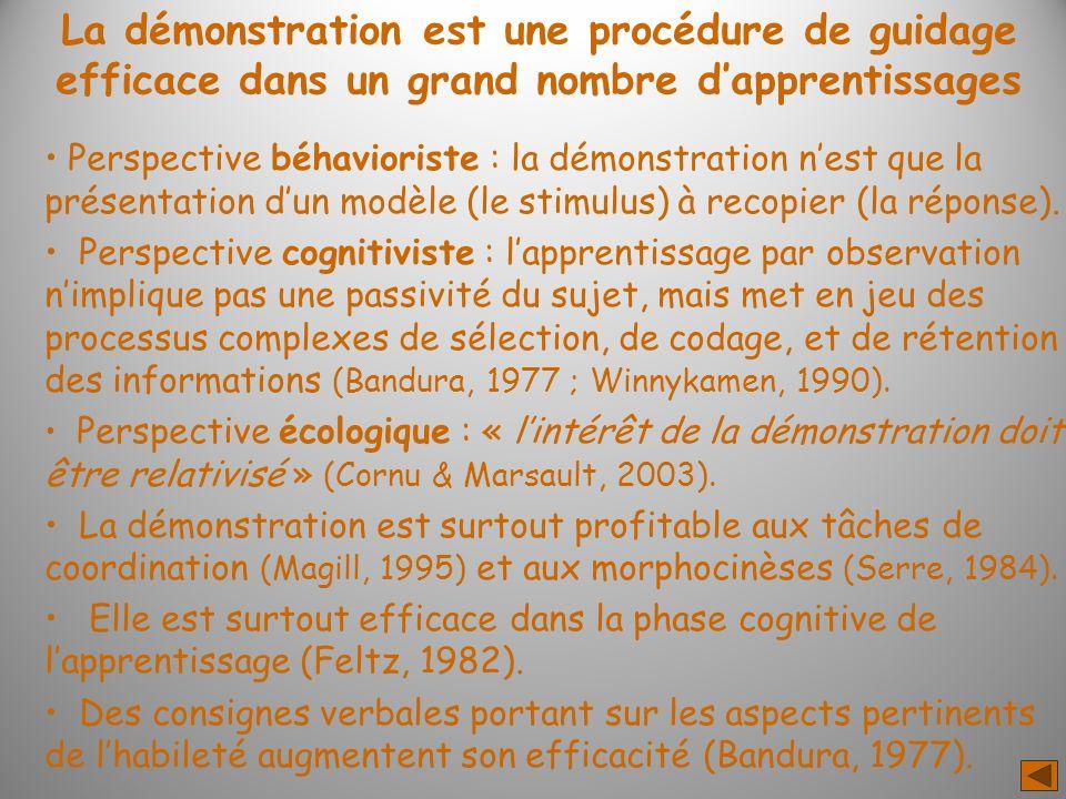 La démonstration est une procédure de guidage efficace dans un grand nombre d'apprentissages