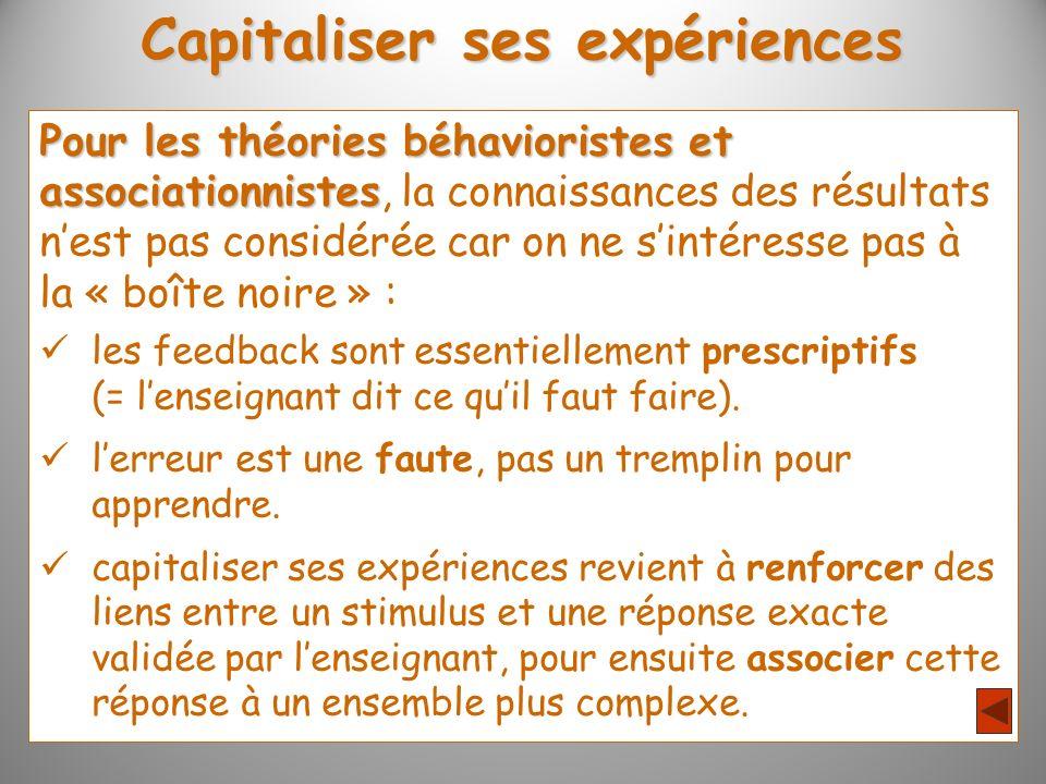 Capitaliser ses expériences