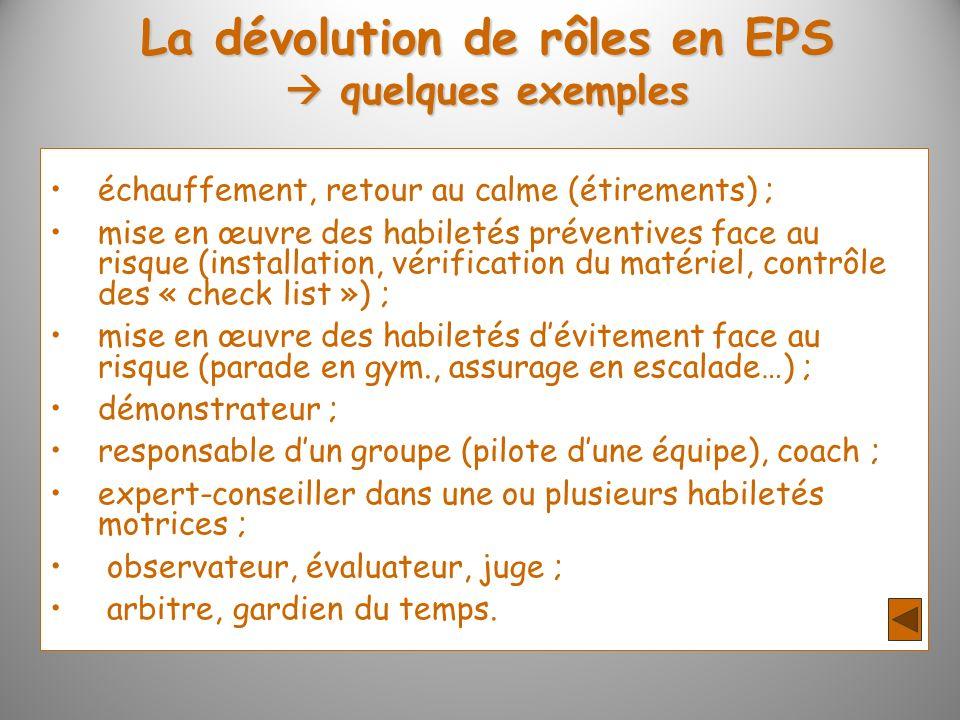 La dévolution de rôles en EPS