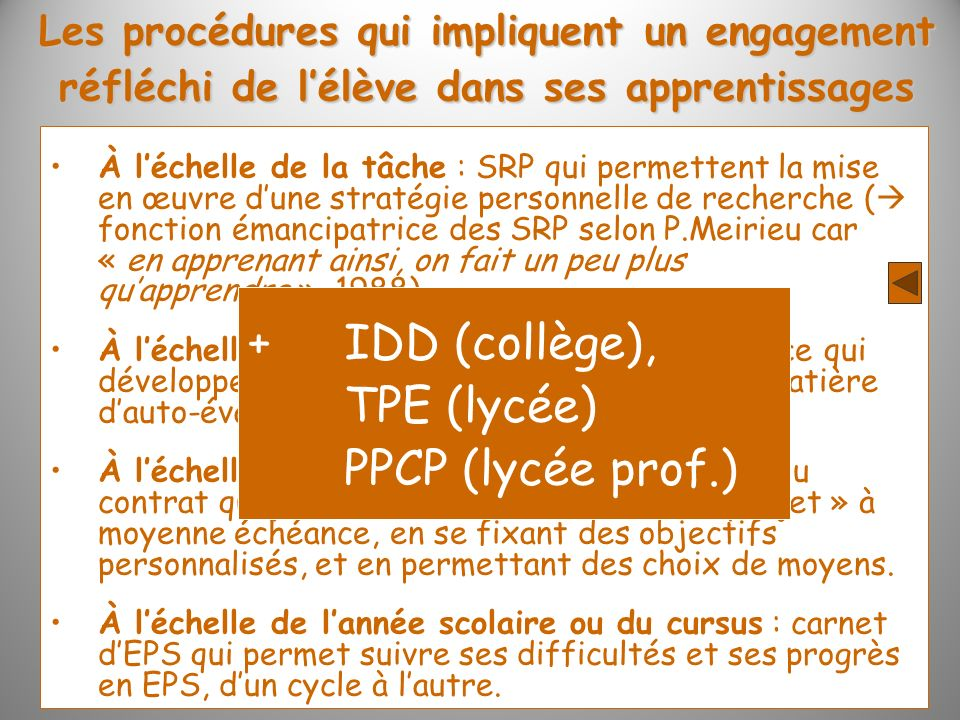 + IDD (collège), TPE (lycée) PPCP (lycée prof.)