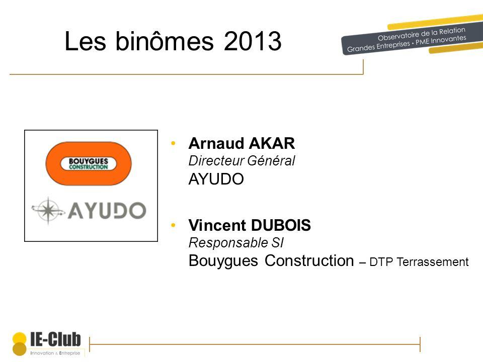 Les binômes 2013 Arnaud AKAR Directeur Général AYUDO