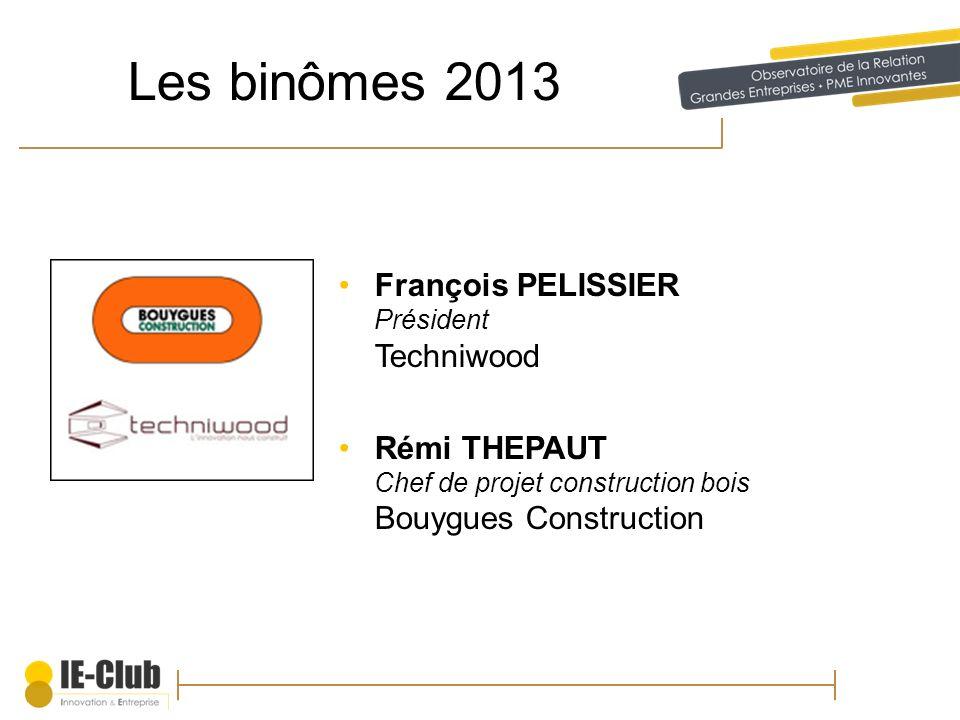 Les binômes 2013 François PELISSIER Président Techniwood