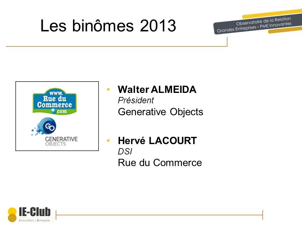 Les binômes 2013 Walter ALMEIDA Président Generative Objects